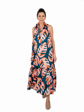 Sleeveless Long Dress - Blue Orange & Salmon