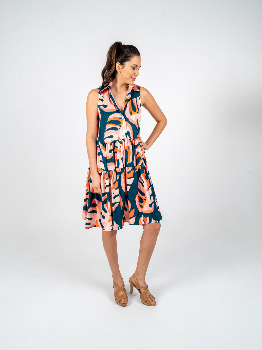 Sleeveless Short Dress - Blue Orange & Salmon