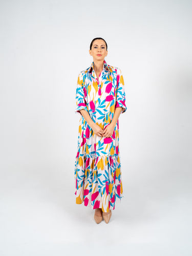 Long Dress with Sleeves - White Rose Blue & Yellow