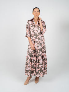 Long Dress with Sleeves - Olive Green & Salmon