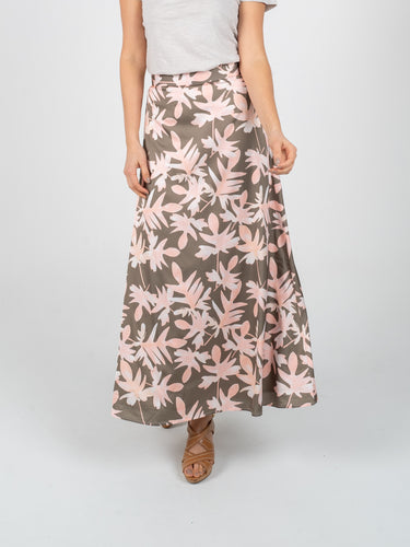 Long Skirt - Olive Green & Salmon