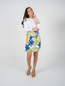 Short Skirt - White Blue & Green