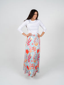 Long Skirt - Grey Red & Rose