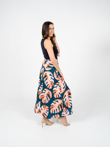 Long Skirt - Blue Orange & Salmon