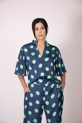 Silk Blouse with Sleeves - Blue and Green Polka Dots
