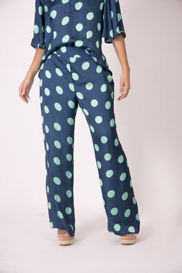 Silk Pants - Blue and Green Polk Dots