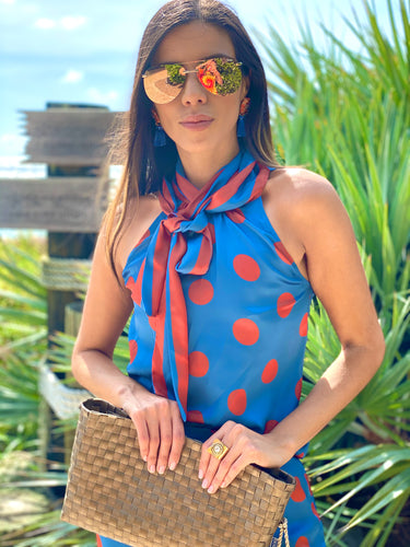 Silk Bow Blouse  - Blue and Orange Polka Dots