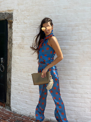 Silk Pants - Blue and Orange Polka Dots
