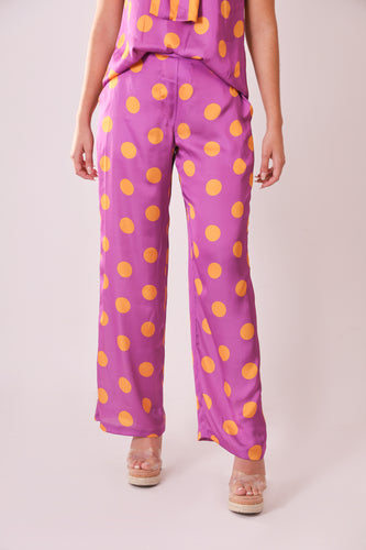 Silk Pants - Purple and Orange Polka Dots
