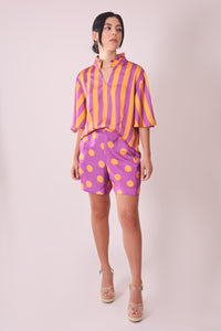 Silk Blouse with Sleeves - Purple and Orange Stripes