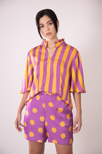Silk Bermudas - Purple and Orange Polka Dots