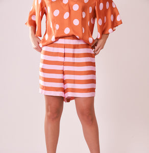 Silk Bermudas - Pink and Orange Stripes