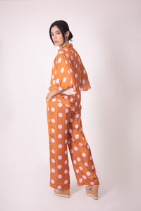 Silk Blouse with Sleeves - Orange and Pink Polka Dots
