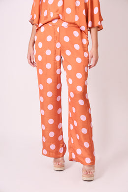 Silk Pants - Orange and Pink Polka Dots