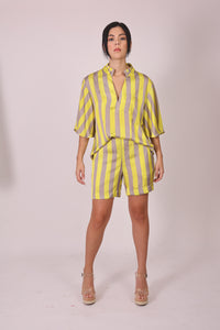 Silk Blouse with Sleeves - Grey and Yellow Stripes