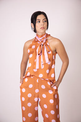 Silk Bow Blouse  - Orange and Pink Polka Dots and Stripes