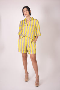 Silk Bermudas -  Vertical Gray and Yellow Stripes
