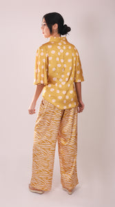 Silk Blouse with Sleeves - Mustard and White Polka Dots