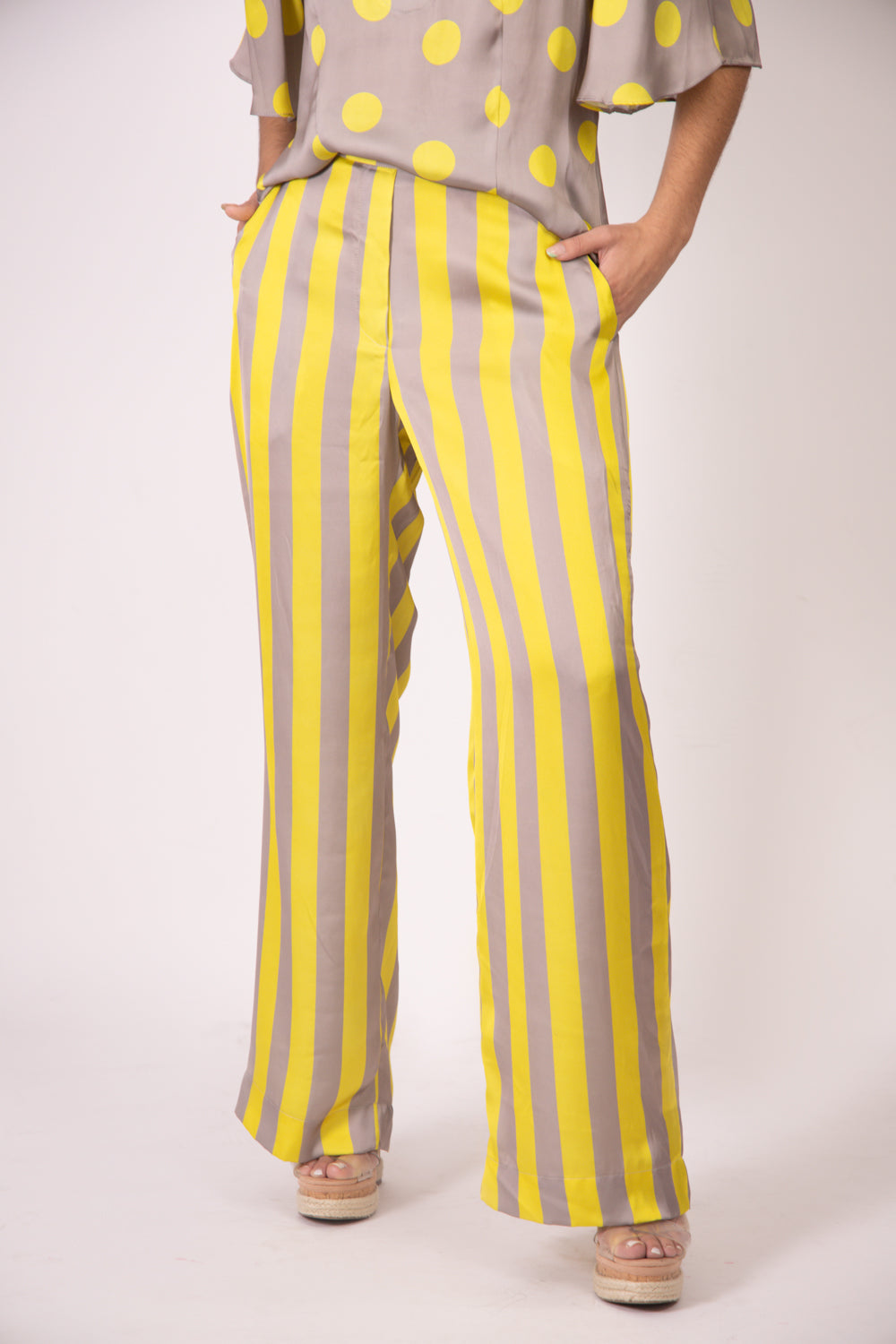 Silk Pants -  Vertical Gray and Yellow Stripes