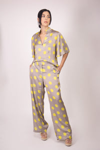 Silk Blouse with Sleeves - Grey and Yellow Polka Dots