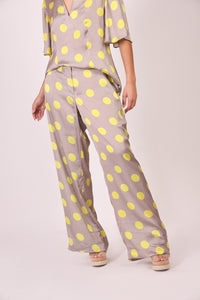 Silk Pants - Gray and Yellow Polka Dots