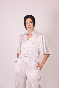 Silk Blouse with Sleeves - White and Grey Polka Dots