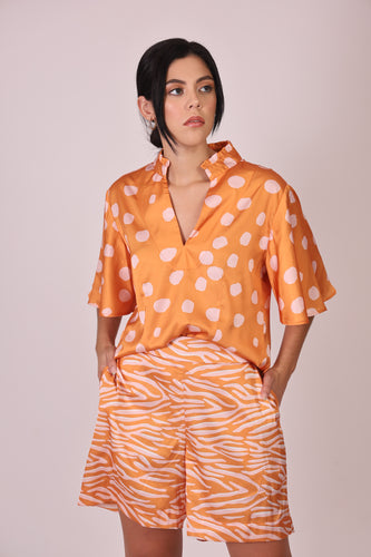 Silk Blouse with Sleeves - Orange and White Polka Dots