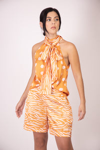 Silk Bow Blouse  - Orange and White Polka Dots with Zebra