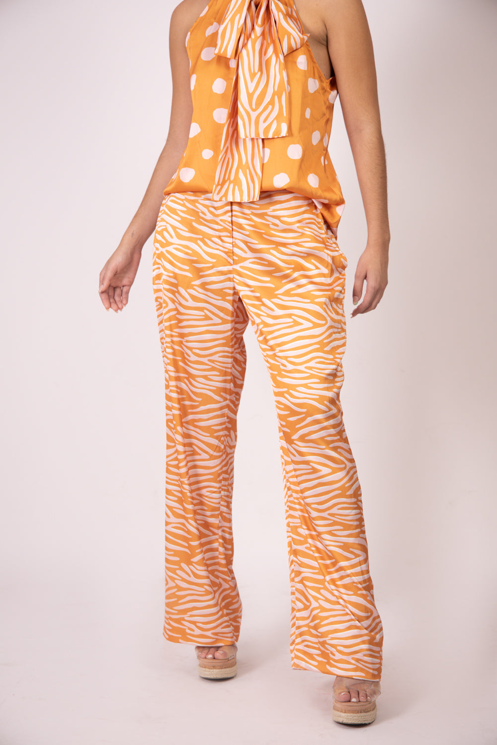 Silk Pants - Orange Zebra