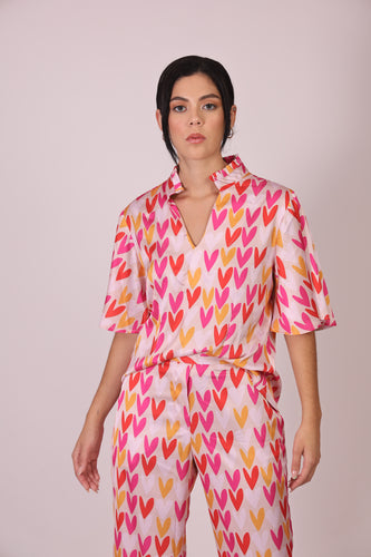 Silk Blouse with Sleeves - Colorful Hearts