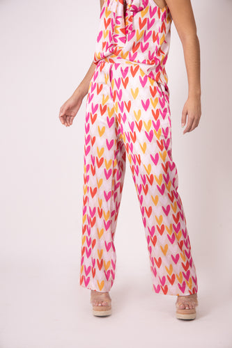 Silk Pants - Colorful Hearts