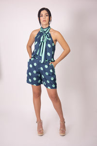 Silk Bow Blouse  - Blue and Green Polka Dots