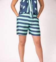 Silk Bermudas - Blue and Green Stripes