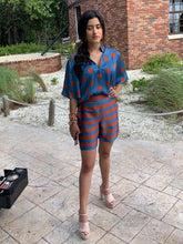 Silk Blouse with Sleeves - Blue and Orange Polka Dots
