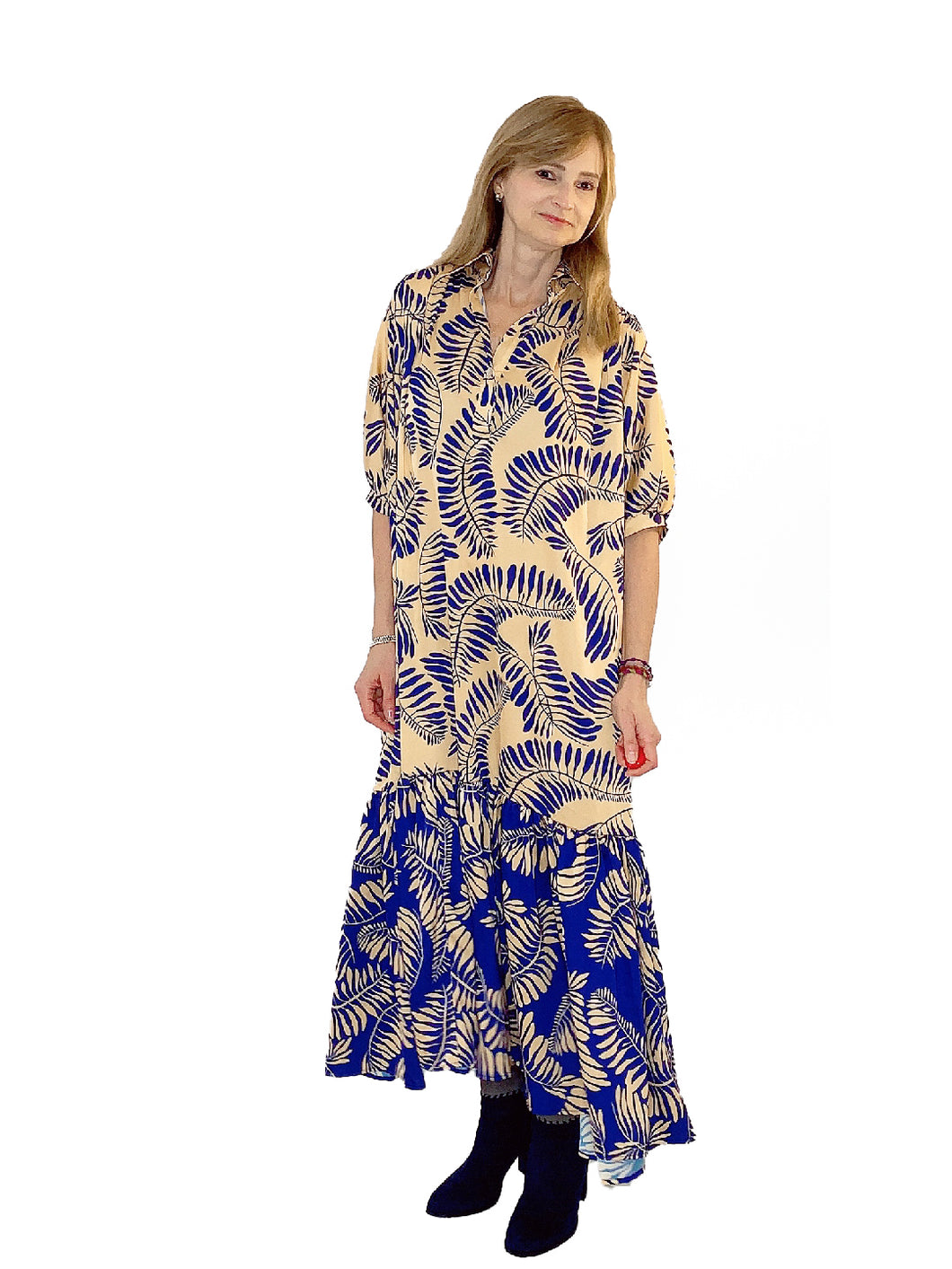 The Sustainable Dress - Mixed Long Dress with Sleeves