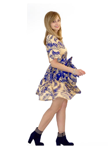 The Sustainable Dress - Mixed Short Dress with Sleeves