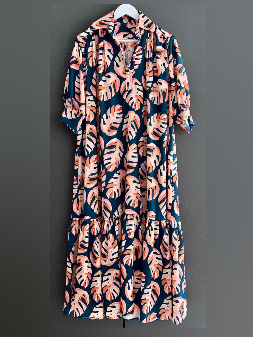 Long Dress with Sleeves - Blue Orange & Salmon