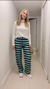 Silk Pants - Blue and Green Stripes