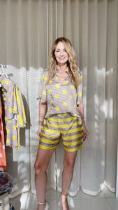 Silk Bermudas -  Horizontal Gray and Yellow Stripes