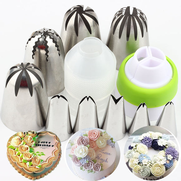 11Pcs Large Rose Cream Cake Icing Piping Tips Set