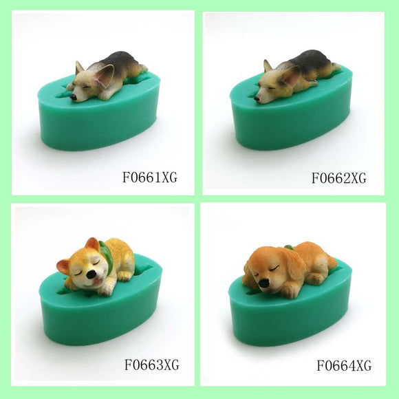 13 dogs shape silicone fondant cake decorating mold
