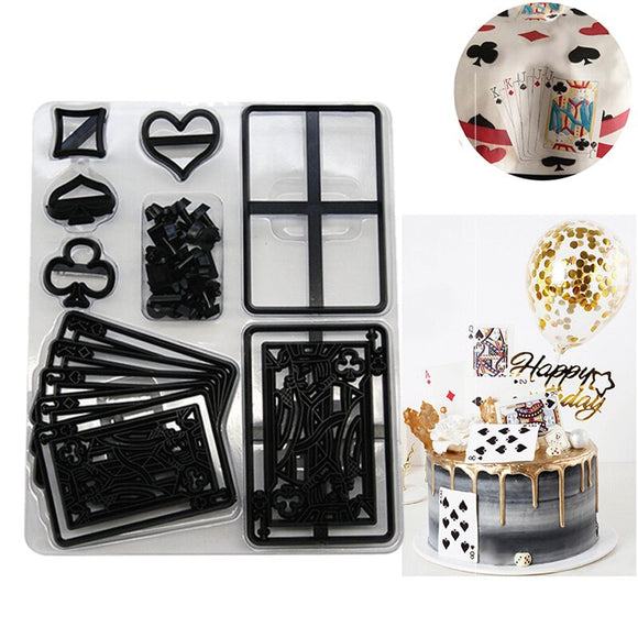 28pcs Plastic Poker Card Cookie Cutter Sugarcraft Fondant Cutter