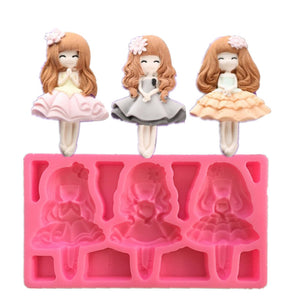 3 Girl Princess Shape Silicone Mould Chocolate Fondant Soap Candy Cake Molds
