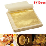 5/10pcs Sheets Practical 24K Pure Real Edible Gold Leaf Foil for Cake Decoration 4.33x4.33cm