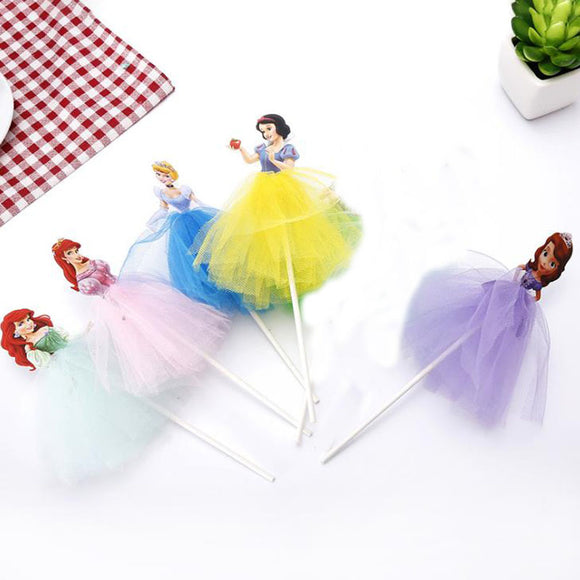 5 Pcs/set Cartoon Sofia/Snow White/Cinderella/Mermaid Princess Cupcake Toppers
