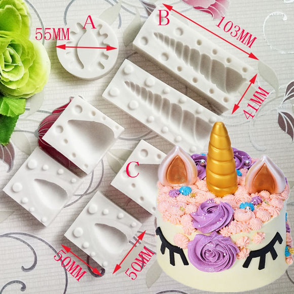 Birthday Unicorn Animalsl Silicone Mold Fondant Mould Cake Decorating Tools Chocolate, Gumpaste, Sugarcraft, Kitchen Gadgets