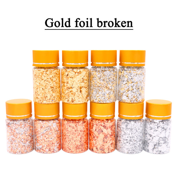 Gold/Silver/Copper leaf flakes, thick and thin,