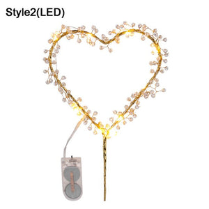 1PC Heart Shape LED Pearl Cake Toppers  Happy Birthday  Cake Decorating Tool