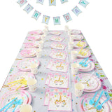 Unicorn Party Disposable Tableware Set Unicornio Flag Banner Baby Shower Girl 1st Birthday Theme Party Plate Cup Tablecloth