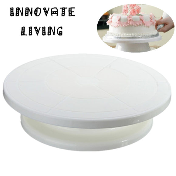 28cm Cake Swivel  Icing Rotating Decoration Stand White Plastic -  cake lover